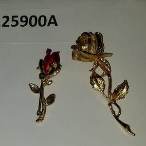 Set of 2 Rose Brooches